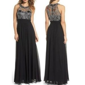 NWT Eliza J Lace Bodice Maxi Gown Dress